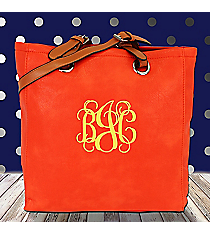 Bright Orange Leather Tall Shoulder Tote #B6013-ORANGE