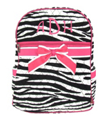 Zebra Quilted Large Backpack with Hot Pink Trim #ZBRB2828-HPINK