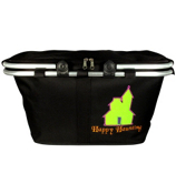 "Halloween ""Happy Haunting"" Black Collapsible Insulated Market Basket with Lid #PT658-BLACK"