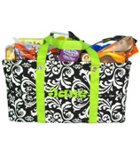 Black and White Damask Collapsible Haul-It-All Utility Basket #DMSK401-200-LIME