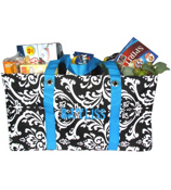 Black and White Damask Collapsible Haul-It-All Utility Basket #DMSK401-200-TURQUOISE