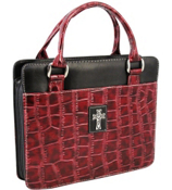 Burgundy Croco Large Purse-Style Bible Cover #BBL342