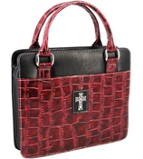 Burgundy Croco Purse-Style Bible Cover #BBM342