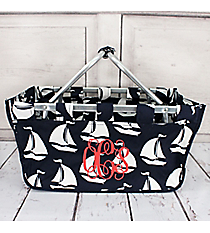Seas the Day Navy Collapsible Market Basket #BDT696-MULTI