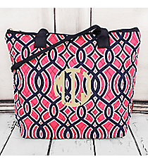 Pink and Navy Trellis Quilted Shoulder Bag with Navy Trim #BIA1515-NAVY
