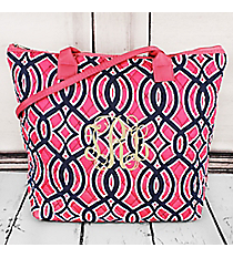 Pink and Navy Trellis Quilted Shoulder Bag with Pink Trim #BIA1515-PINK