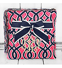Pink and Navy Trellis Quilted Crossbody with Navy Trim #BIA1717-NAVY