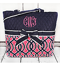 Pink and Navy Trellis Quilted Diaper Bag with Navy Trim #BIA2121-NAVY