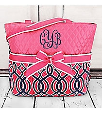 Pink and Navy Trellis Quilted Diaper Bag with Pink Trim #BIA2121-PINK