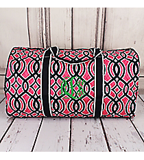 "Pink and Navy Trellis Quilted Duffle Bag 21"" #BIA2626-NAVY"
