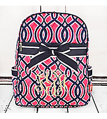 Pink and Navy Trellis Quilted Backpack with Navy Trim #BIA2828-NAVY
