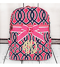 Pink and Navy Trellis Quilted Backpack with Pink Trim #BIA2828-PINK