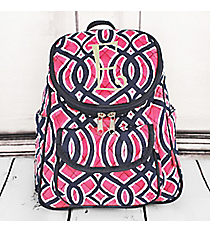 Pink and Navy Trellis Quilted Petite Backpack with Navy Trim #BIA286-NAVY