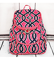 Pink and Navy Trellis Quilted Petite Backpack with Pink Trim #BIA286-PINK
