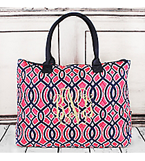 Pink and Navy Trellis Quilted Large Shoulder Tote with Navy Trim #BIA3907-NAVY