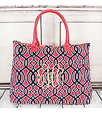 Pink and Navy Trellis Quilted Large Shoulder Tote with Pink Trim #BIA3907-PINK