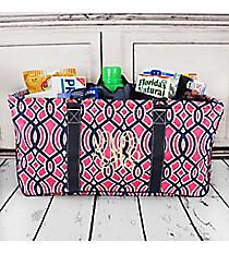 Pink and Navy Trellis Collapsible Haul-It-All Basket with Mesh Pockets #BIA603-NAVY