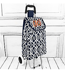 Navy Trellis Rolling Shopper Tote with Navy #20003BIQ-NAVY