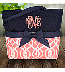 Coral Trellis Quilted Diaper Bag #BIQ2121-CORAL