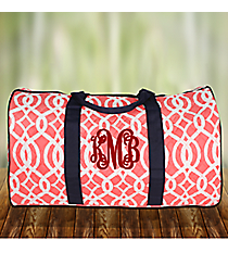 "21"" Coral Trellis Quilted Duffle Bag #BIQ2626-CORAL"