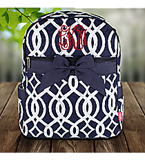 Navy Trellis Quilted Large Backpack #BIQ2828-NAVY