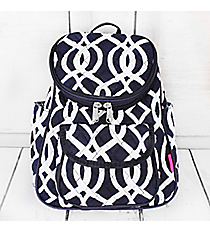Navy Trellis Quilted Petite Backpack #BIQ286-NAVY