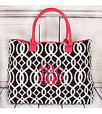 Brown Trellis Quilted Large Shoulder Tote with Hot Pink Trim #BIQ3907-BROWN