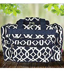 "17"" Navy Trellis Duffle Bag #BIQ417-NAVY"