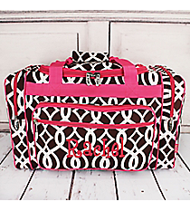 "Brown Trellis Duffle Bag with Hot Pink Trim 20"" #BIQ420-BROWN"
