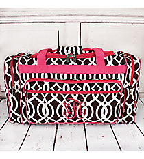 "Brown Trellis Duffle Bag with Hot Pink Trim 23"" #BIQ423-BROWN"
