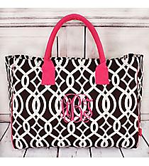 Brown Trellis Wide Tote Bag with Hot Pink Trim #BIQ581-BROWN