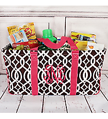 Brown Trellis with Hot Pink Trim Collapsible Haul-It-All Basket with Mesh Pockets #BIQ603-BROWN