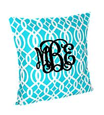 Aqua Trellis Throw Pillow Slipcover #BIQ685-AQUA