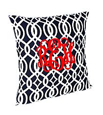 Navy Trellis Throw Pillow Slipcover #BIQ685-NAVY