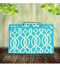 Aqua Trellis Roll Up Jewelry Bag #BIQ716-AQUA