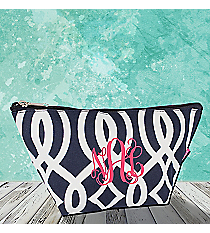 Navy Trellis Cosmetic Bag #BIQ820-NAVY