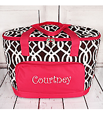 Brown Trellis and Hot Pink Cooler Tote with Lid #BIQ89-BROWN