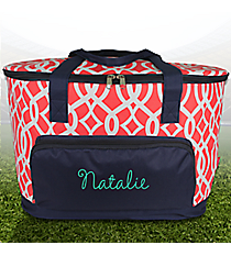 Coral Trellis and Navy Cooler Tote with Lid #BIQ89-CORAL