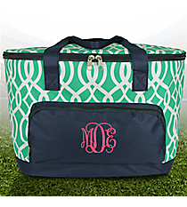 Mint Trellis and Navy Cooler Tote with Lid #BIQ89-MINT