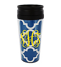 Royal Blue Moroccan 14 oz. Travel Tumbler with Black Lid #WLCM338PP-CL-U