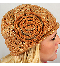 Apricot Knit Beanie with Flower Accent #BN1725-APRICOT