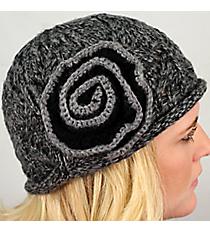 Black and Gray Knit Beanie with Flower Accent #BN1725-BK/GR