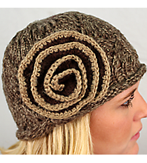 Brown and Beige Knit Beanie with Flower Accent #BN1725-BR/BE