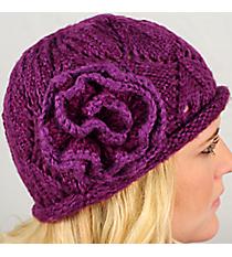 Purple Knit Beanie with Flower Accent #BN1725-PURPLE