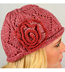 Rose Knit Beanie with Flower Accent #BN1725-ROSE