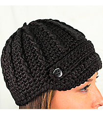 Black Knit Beanie with Button Accents #BN1980-BLACK