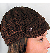 Brown Knit Beanie with Button Accents #BN1980-BROWN