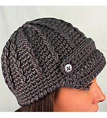 Gray Knit Beanie with Button Accents #BN1980-GRAY