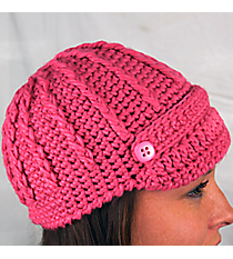 Pink Knit Beanie with Button Accents #BN1980-PINK
