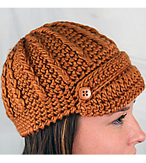 Rust Knit Beanie with Button Accents #BN1980-RUST
